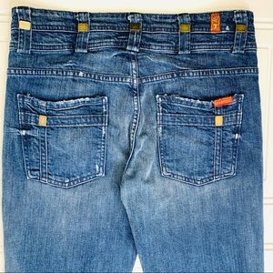 Seven for allmankind wide hippie blue ripped jeans